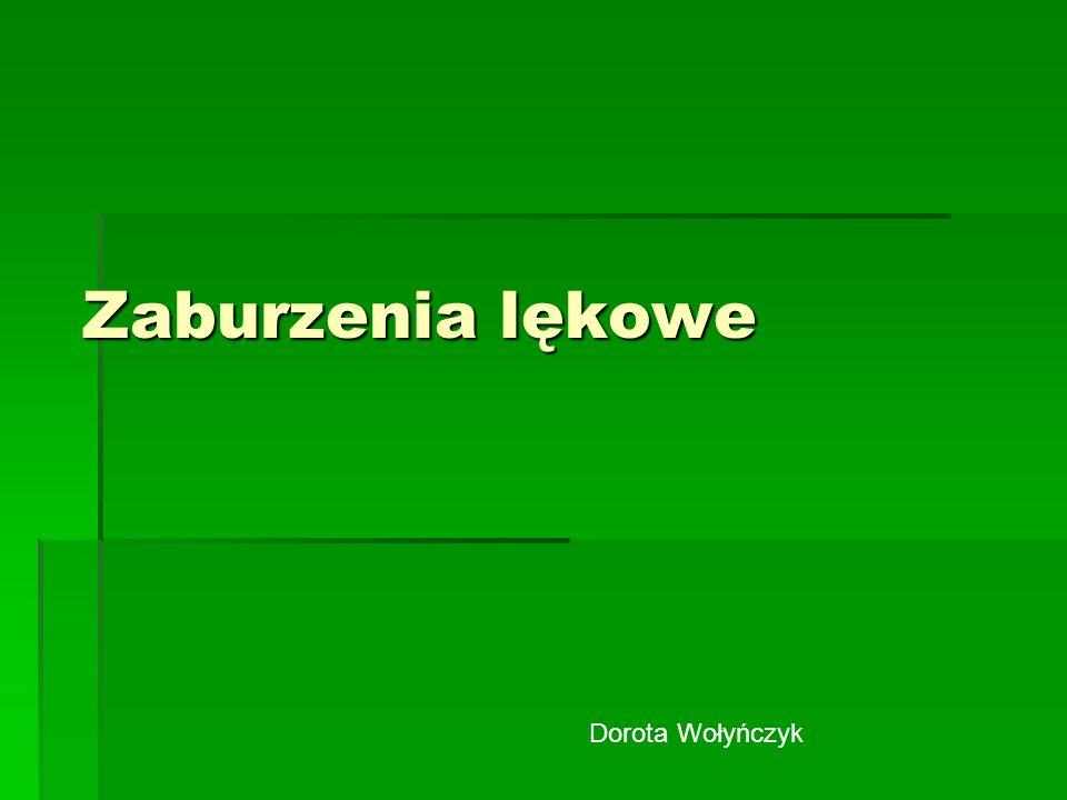 Zaburzenia lękowe Dorota Wołyńczyk