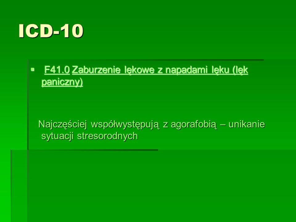 ICD-10  F41.0 Zaburzenie lękowe z napadami lęku (lęk paniczny) F41.0Zaburzenie lękowe z napadami lęku (lęk paniczny)F41.0Zaburzenie lękowe z napadami lęku (lęk paniczny) Najczęściej współwystępują z agorafobią – unikanie sytuacji stresorodnych Najczęściej współwystępują z agorafobią – unikanie sytuacji stresorodnych