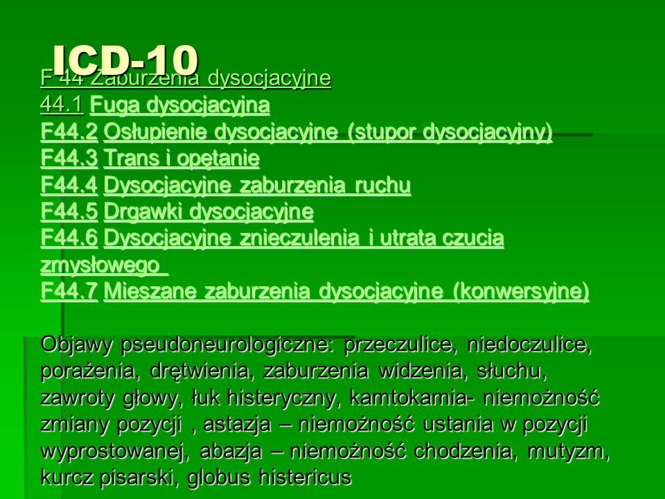 F 44 Zaburzenia dysocjacyjne 44.1 Fuga dysocjacyjna F44.2 Osłupienie dysocjacyjne (stupor dysocjacyjny) F44.3 Trans i opętanie F44.4 Dysocjacyjne zaburzenia ruchu F44.5 Drgawki dysocjacyjne F44.6 Dysocjacyjne znieczulenia i utrata czucia zmysłowego F44.7 Mieszane zaburzenia dysocjacyjne (konwersyjne) Objawy pseudoneurologiczne: przeczulice, niedoczulice, porażenia, drętwienia, zaburzenia widzenia, słuchu, zawroty głowy, łuk histeryczny, kamtokamia- niemożność zmiany pozycji, astazja – niemożność ustania w pozycji wyprostowanej, abazja – niemożność chodzenia, mutyzm, kurcz pisarski, globus histericus 44.1Fuga dysocjacyjna F44.2Osłupienie dysocjacyjne (stupor dysocjacyjny) F44.3Trans i opętanie F44.4Dysocjacyjne zaburzenia ruchu F44.5Drgawki dysocjacyjne F44.6Dysocjacyjne znieczulenia i utrata czucia zmysłowego F44.7Mieszane zaburzenia dysocjacyjne (konwersyjne) 44.1Fuga dysocjacyjna F44.2Osłupienie dysocjacyjne (stupor dysocjacyjny) F44.3Trans i opętanie F44.4Dysocjacyjne zaburzenia ruchu F44.5Drgawki dysocjacyjne F44.6Dysocjacyjne znieczulenia i utrata czucia zmysłowego F44.7Mieszane zaburzenia dysocjacyjne (konwersyjne)ICD-10
