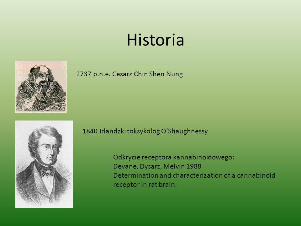 Historia 2737 p.n.e. Cesarz Chin Shen Nung 1840 Irlandzki toksykolog O'Shaughnessy Odkrycie receptora kannabinoidowego: Devane, Dysarz, Melvin 1988 De