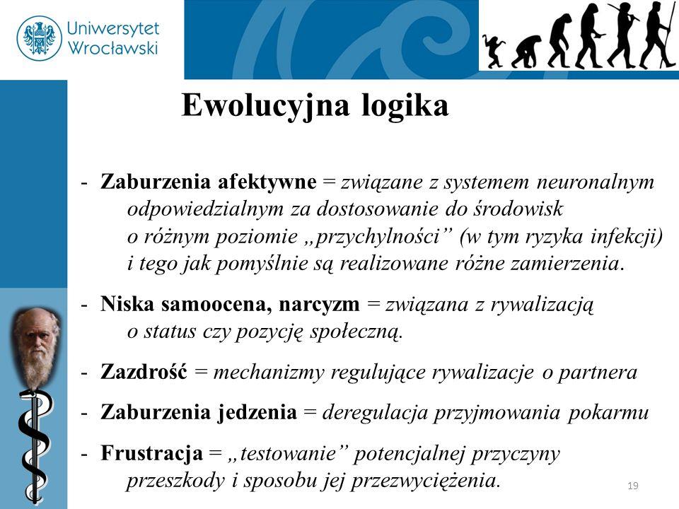 """19 Ewolucyjna logika -Zaburzenia afektywne = związane z systemem neuronalnym odpowiedzialnym za dostosowanie do środowisk o różnym poziomie """"przychyln"""