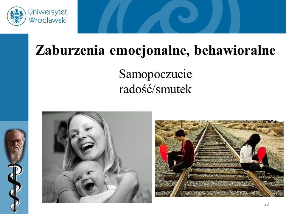 20 Zaburzenia emocjonalne, behawioralne Samopoczucie radość/smutek
