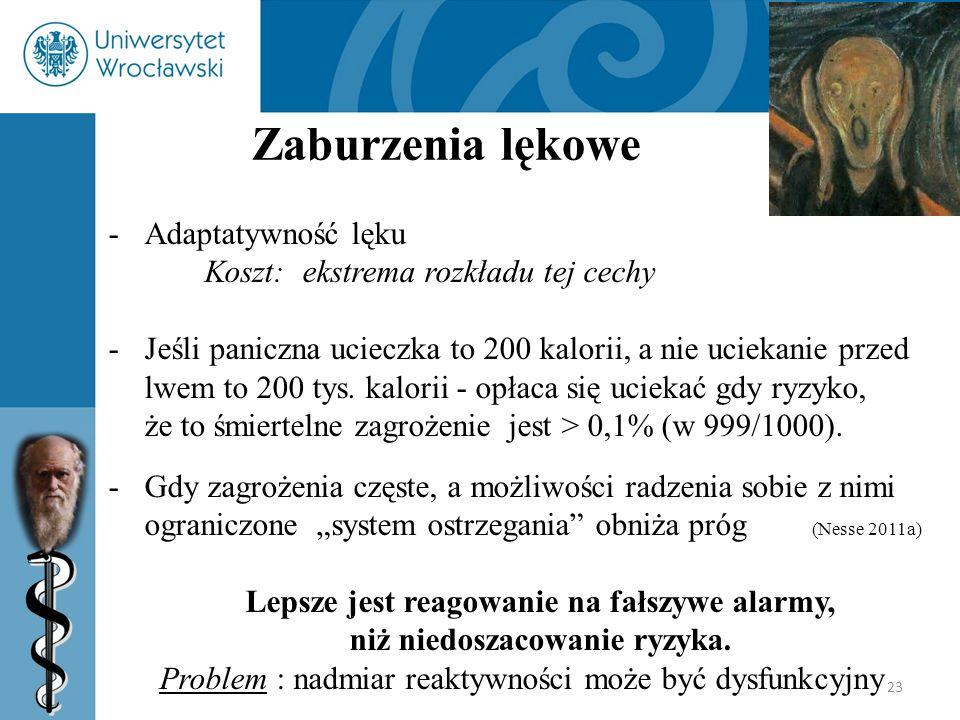 23 Zaburzenia lękowe -Adaptatywność lęku Koszt: ekstrema rozkładu tej cechy -Jeśli paniczna ucieczka to 200 kalorii, a nie uciekanie przed lwem to 200