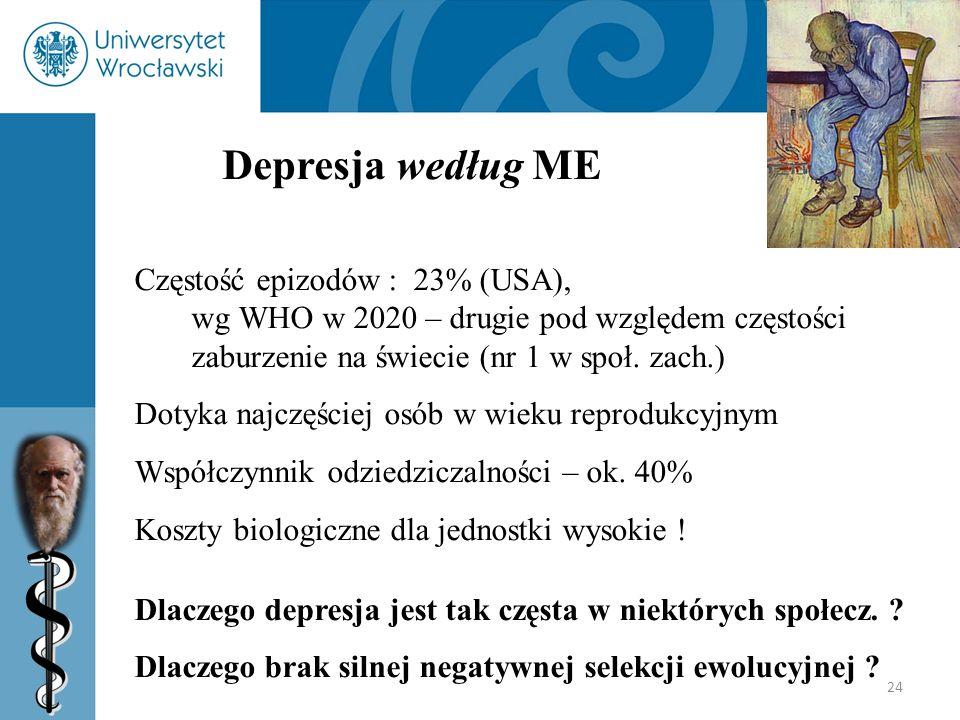 24 Depresja według ME Częstość epizodów : 23% (USA), wg WHO w 2020 – drugie pod względem częstości zaburzenie na świecie (nr 1 w społ. zach.) Dotyka n