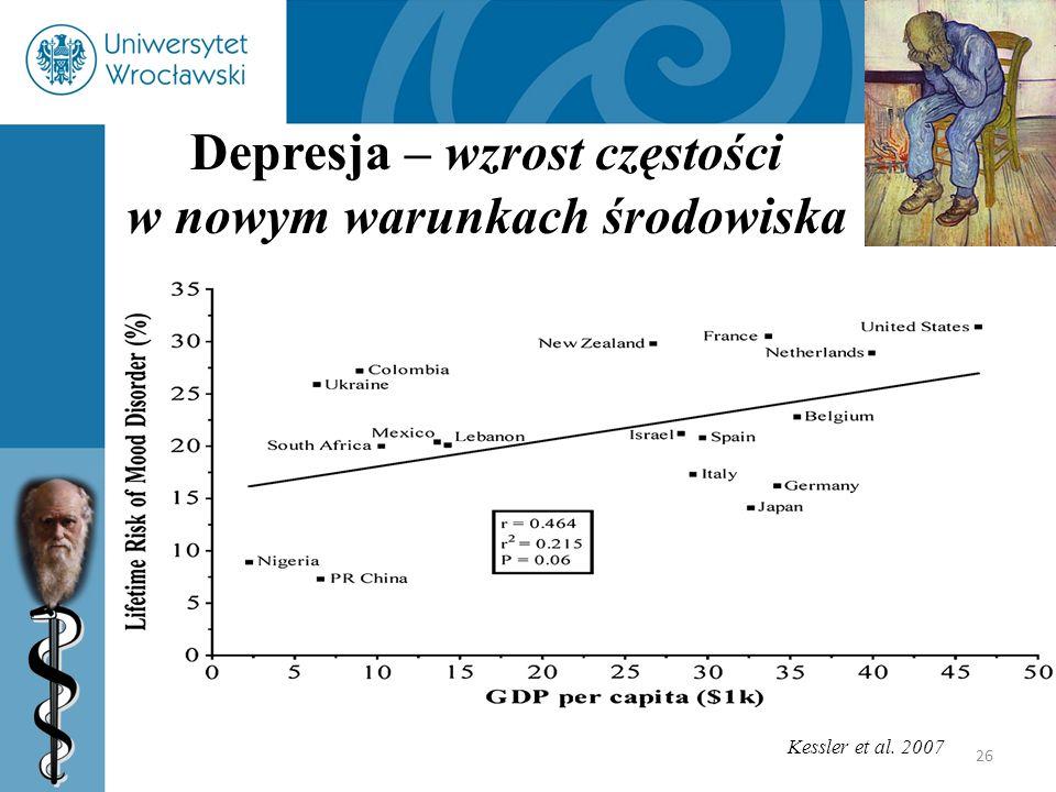 26 Depresja – wzrost częstości w nowym warunkach środowiska Kessler et al. 2007