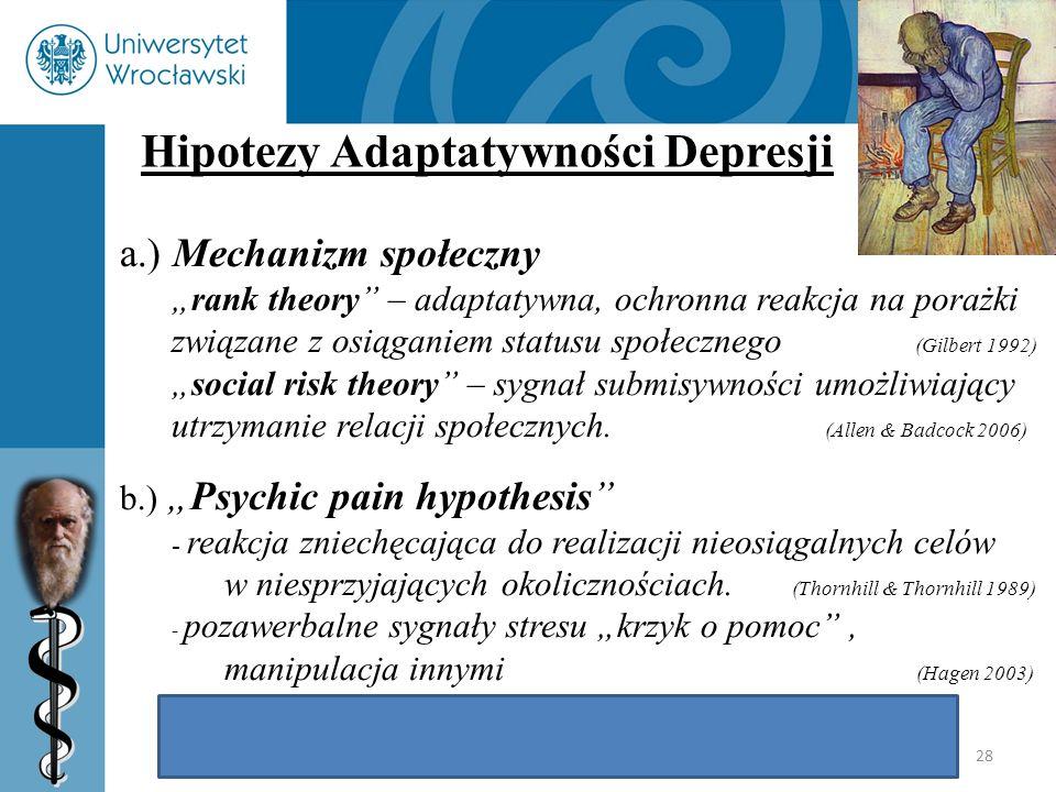 """28 Hipotezy Adaptatywności Depresji a.) Mechanizm społeczny """"rank theory"""" – adaptatywna, ochronna reakcja na porażki związane z osiąganiem statusu spo"""