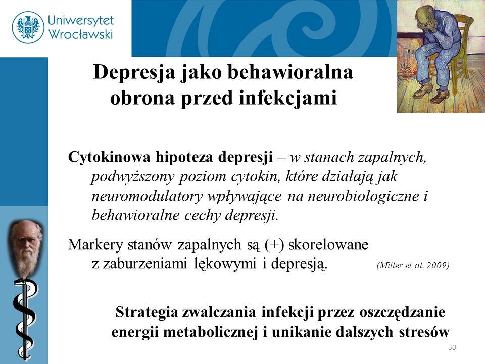30 Depresja jako behawioralna obrona przed infekcjami Cytokinowa hipoteza depresji – w stanach zapalnych, podwyższony poziom cytokin, które działają j