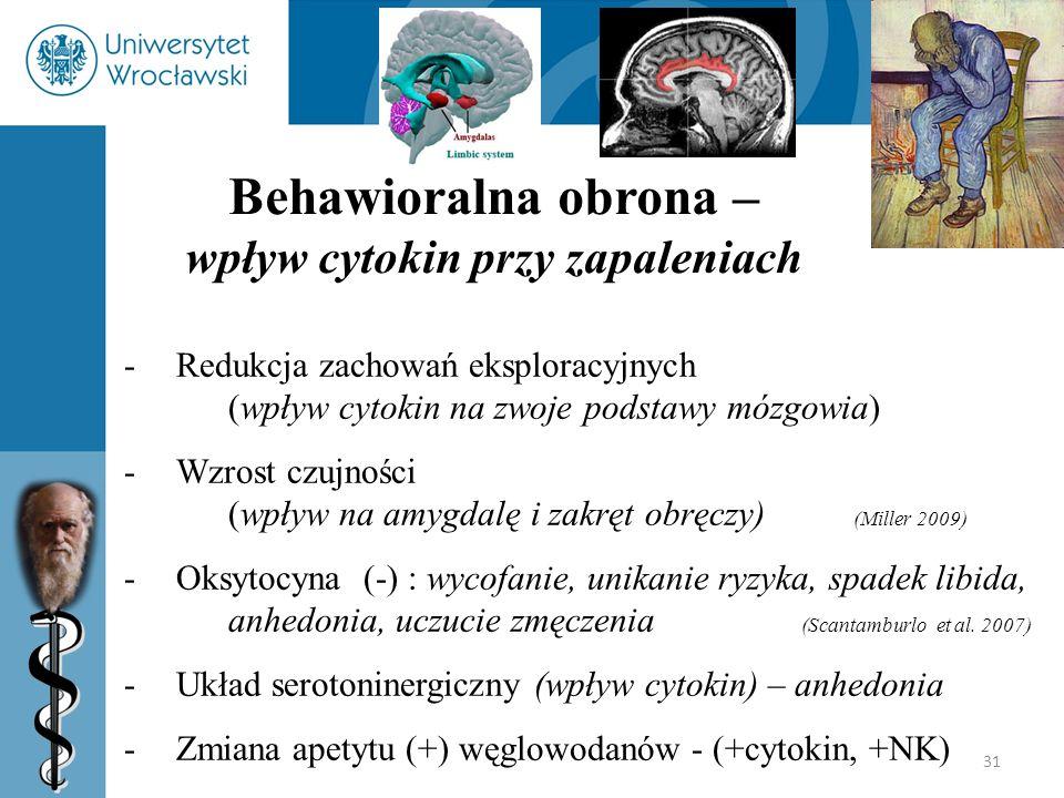 31 Behawioralna obrona – wpływ cytokin przy zapaleniach -Redukcja zachowań eksploracyjnych (wpływ cytokin na zwoje podstawy mózgowia) -Wzrost czujnośc