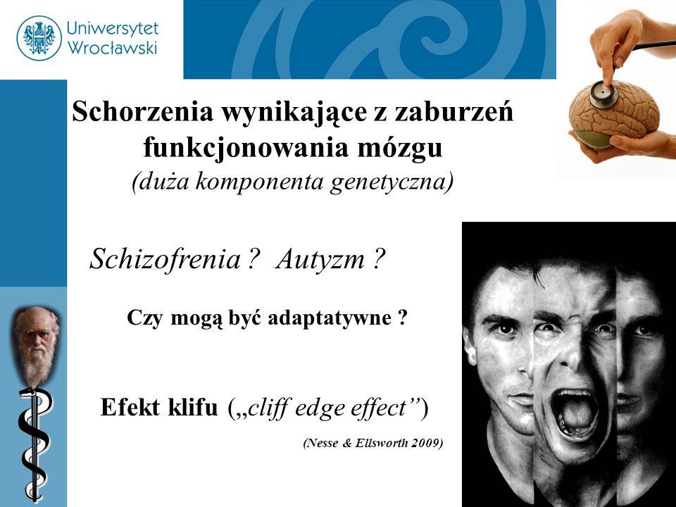 33 Schorzenia wynikające z zaburzeń funkcjonowania mózgu (duża komponenta genetyczna) Schizofrenia ? Autyzm ? Czy mogą być adaptatywne ? Efekt klifu (