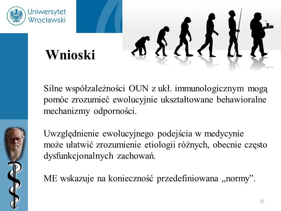 35 Wnioski Silne współzależności OUN z ukł. immunologicznym mogą pomóc zrozumieć ewolucyjnie ukształtowane behawioralne mechanizmy odporności. Uwzględ