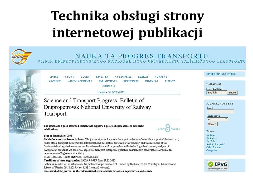 Technika obsługi strony internetowej publikacji