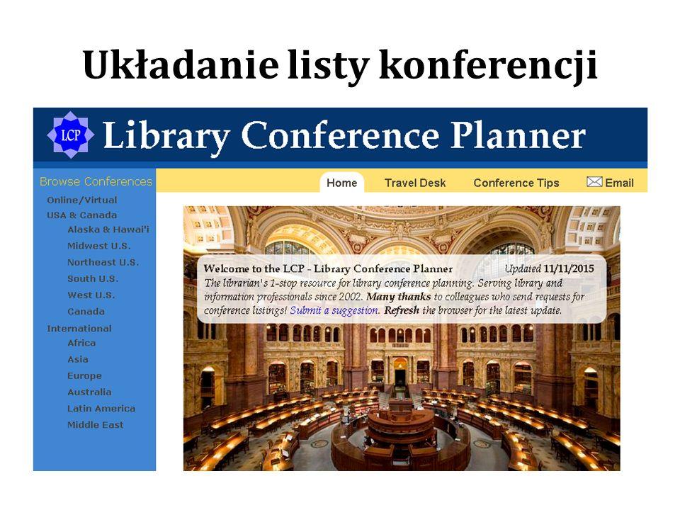Układanie listy konferencji
