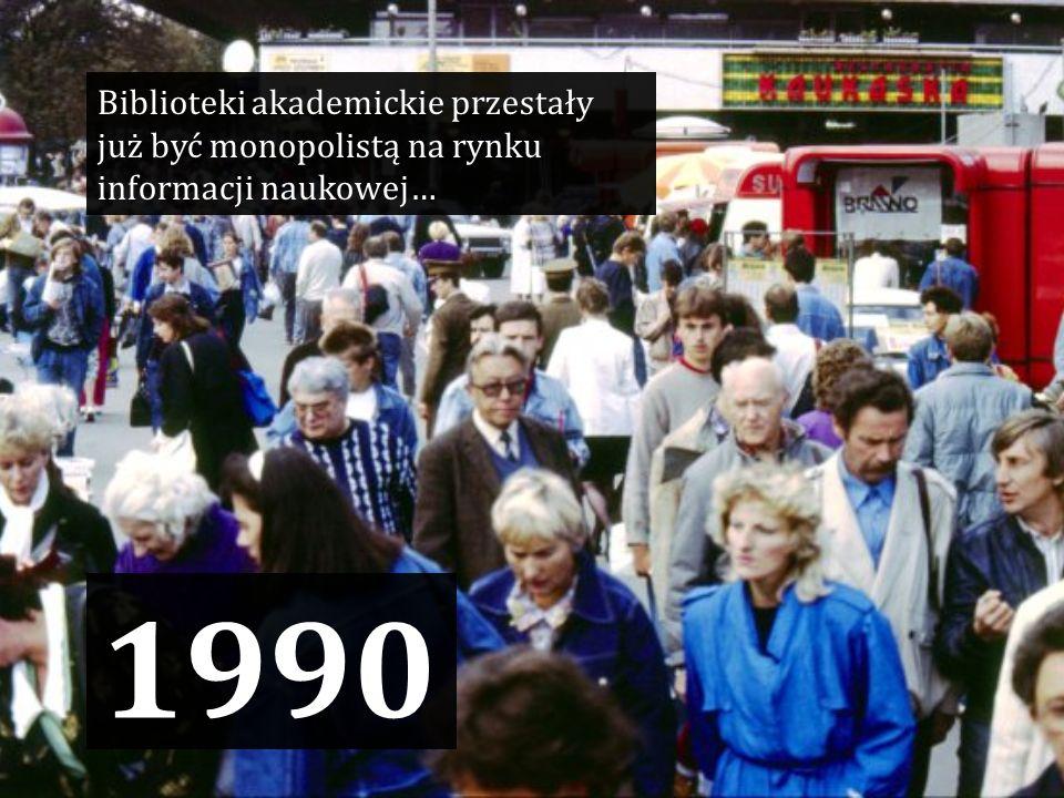 1990 Biblioteki akademickie przestały już być monopolistą na rynku informacji naukowej…