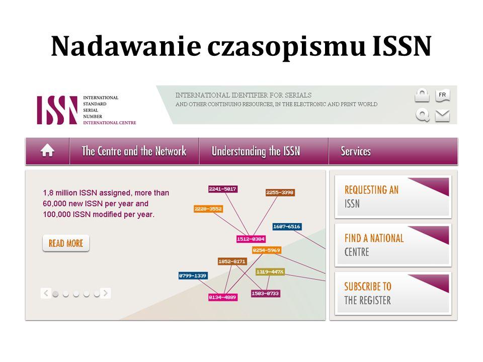 Nadawanie czasopismu ISSN