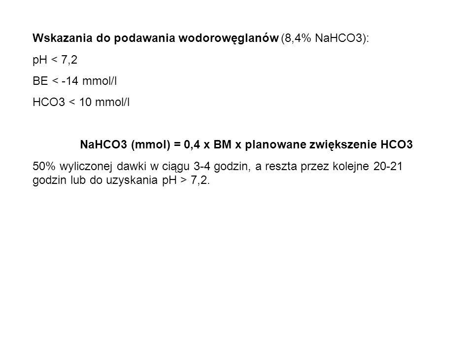Wskazania do podawania wodorowęglanów (8,4% NaHCO3): pH < 7,2 BE < -14 mmol/l HCO3 < 10 mmol/l NaHCO3 (mmol) = 0,4 x BM x planowane zwiększenie HCO3 5