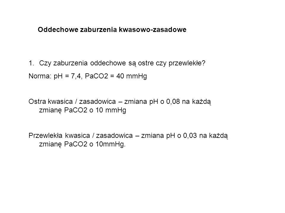 Oddechowe zaburzenia kwasowo-zasadowe 1.Czy zaburzenia oddechowe są ostre czy przewlekłe? Norma: pH = 7,4, PaCO2 = 40 mmHg Ostra kwasica / zasadowica