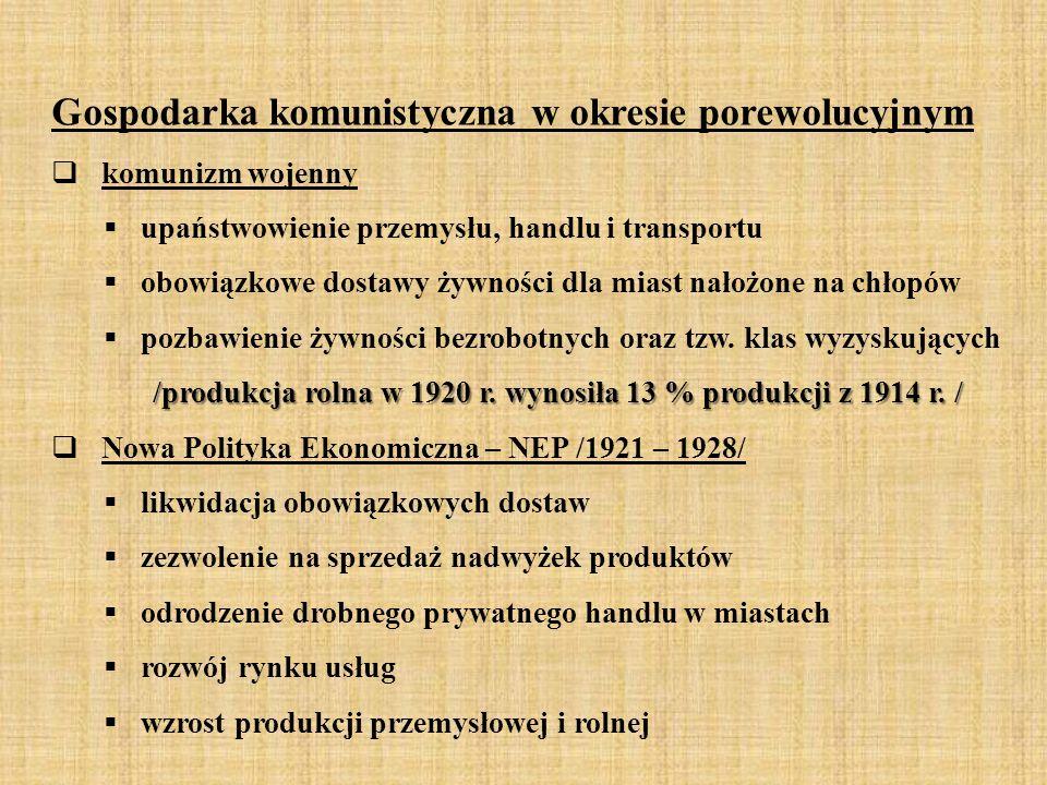 Gospodarka komunistyczna w okresie porewolucyjnym  komunizm wojenny  upaństwowienie przemysłu, handlu i transportu  obowiązkowe dostawy żywności dl