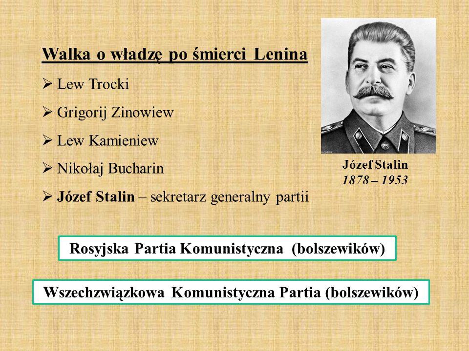 Józef Stalin 1878 – 1953 Walka o władzę po śmierci Lenina  Lew Trocki  Grigorij Zinowiew  Lew Kamieniew  Nikołaj Bucharin  Józef Stalin – sekreta