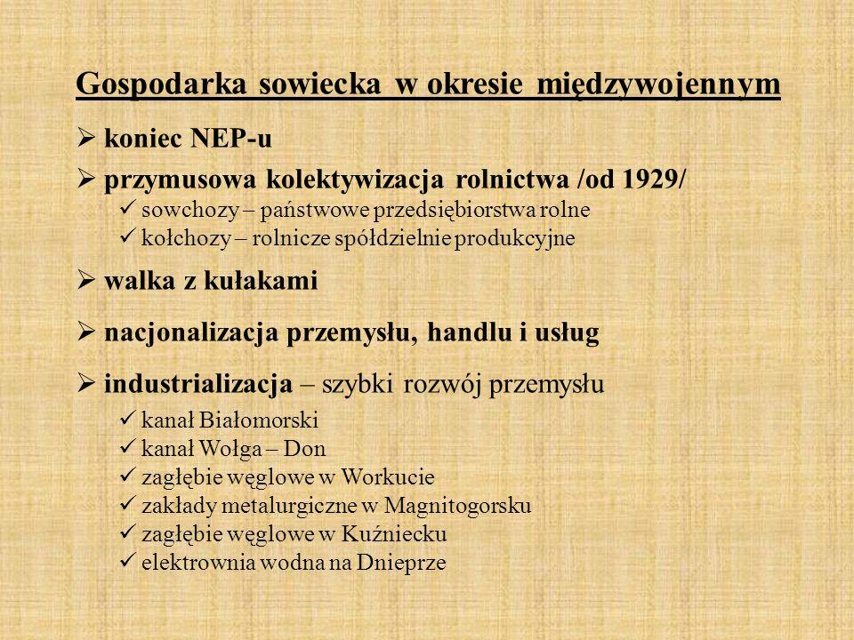 Gospodarka sowiecka w okresie międzywojennym  koniec NEP-u  przymusowa kolektywizacja rolnictwa /od 1929/ sowchozy – państwowe przedsiębiorstwa roln