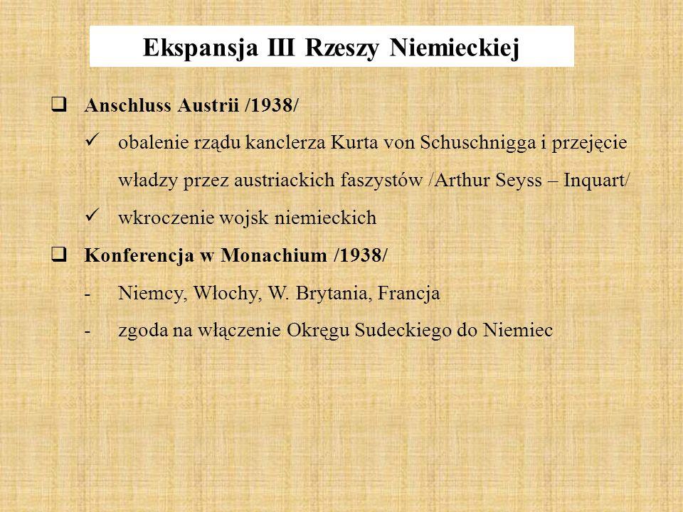 Ekspansja III Rzeszy Niemieckiej  Anschluss Austrii /1938/ obalenie rządu kanclerza Kurta von Schuschnigga i przejęcie władzy przez austriackich fasz