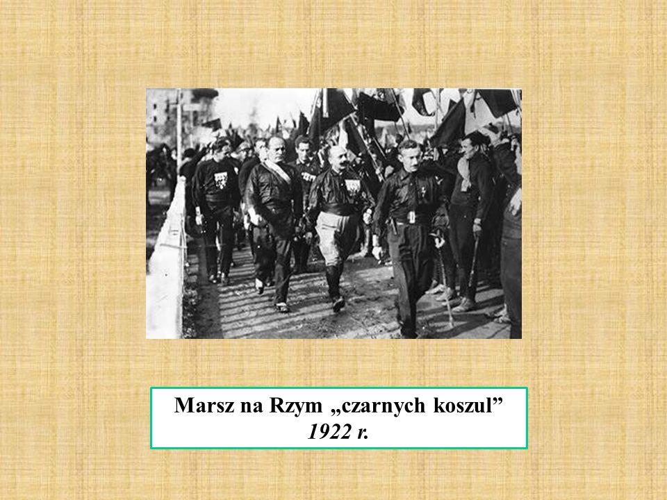"""Marsz na Rzym """"czarnych koszul"""" 1922 r."""