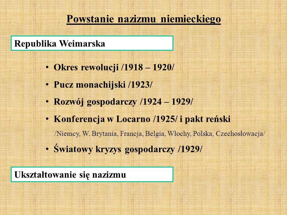 Powstanie nazizmu niemieckiego Republika Weimarska Okres rewolucji /1918 – 1920/ Pucz monachijski /1923/ Rozwój gospodarczy /1924 – 1929/ Konferencja