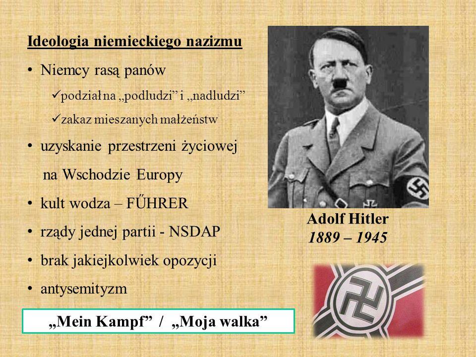 """Adolf Hitler 1889 – 1945 """"Mein Kampf"""" / """"Moja walka"""" Ideologia niemieckiego nazizmu Niemcy rasą panów podział na """"podludzi"""" i """"nadludzi"""" zakaz mieszan"""