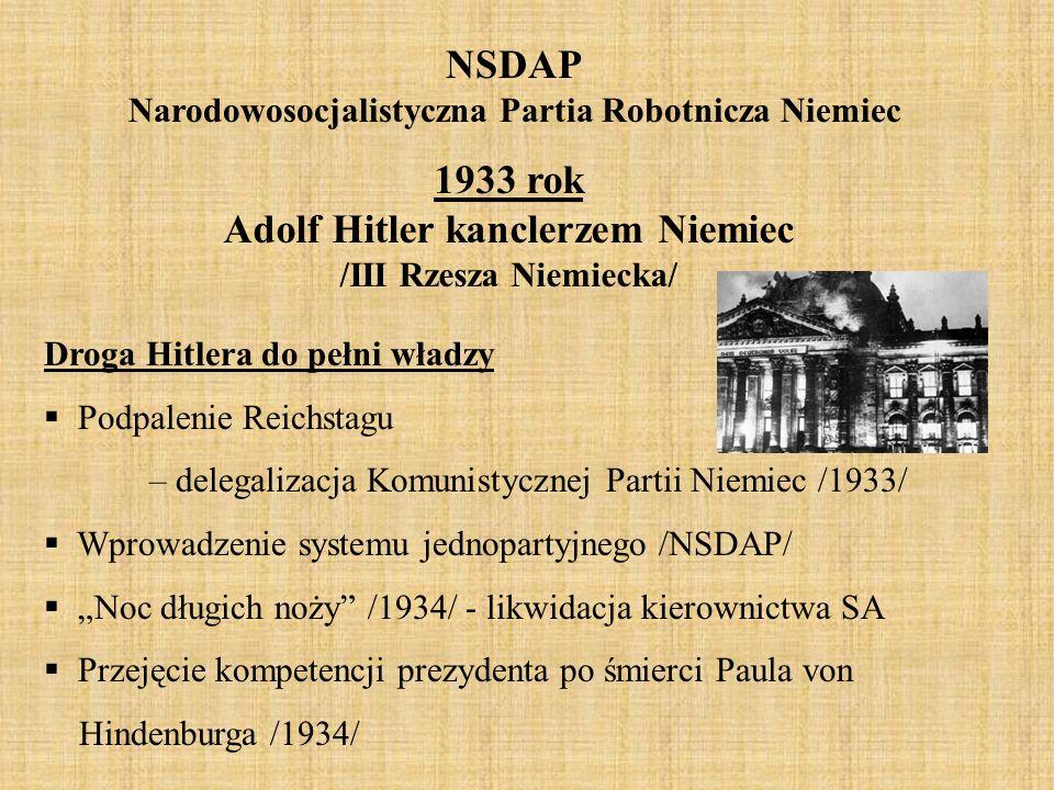 NSDAP Narodowosocjalistyczna Partia Robotnicza Niemiec 1933 rok Adolf Hitler kanclerzem Niemiec /III Rzesza Niemiecka/ Droga Hitlera do pełni władzy 