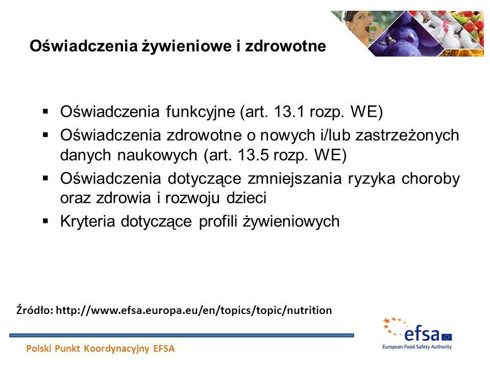 Oświadczenia żywieniowe i zdrowotne  Oświadczenia funkcyjne (art. 13.1 rozp. WE)  Oświadczenia zdrowotne o nowych i/lub zastrzeżonych danych naukowy