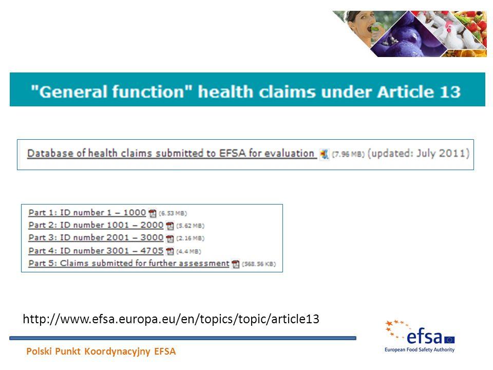 http://www.efsa.europa.eu/en/topics/topic/article13 Polski Punkt Koordynacyjny EFSA