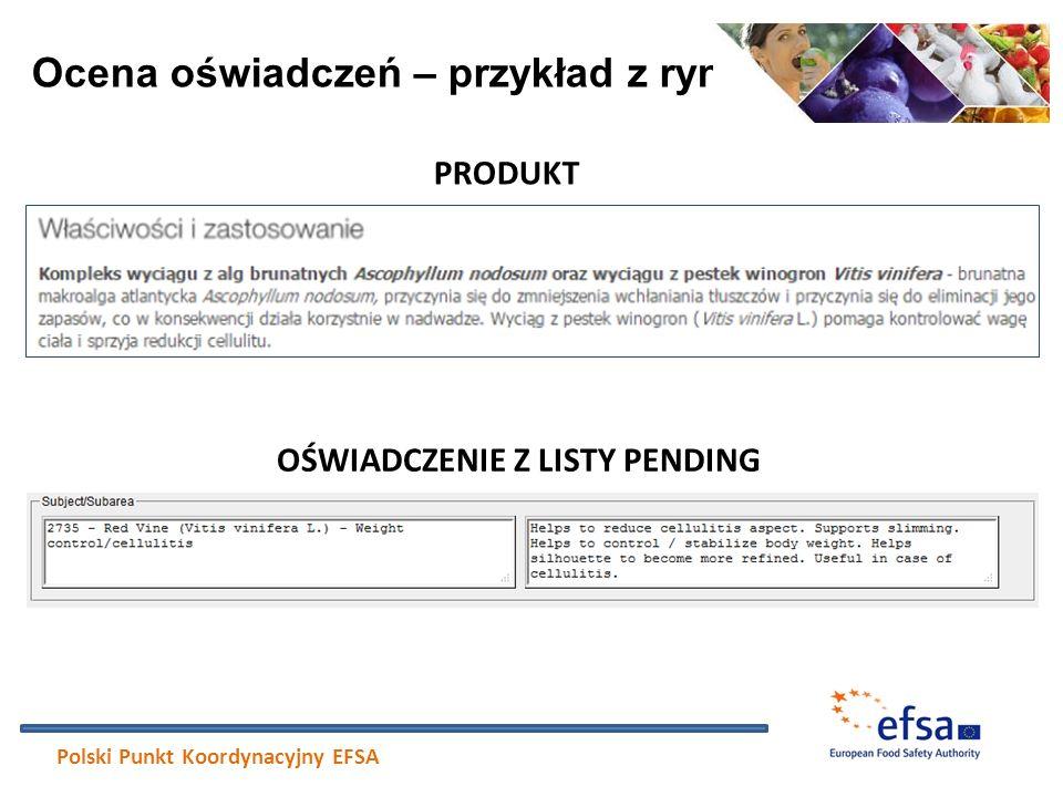 Ocena oświadczeń – przykład z rynku Polski Punkt Koordynacyjny EFSA PRODUKT OŚWIADCZENIE Z LISTY PENDING
