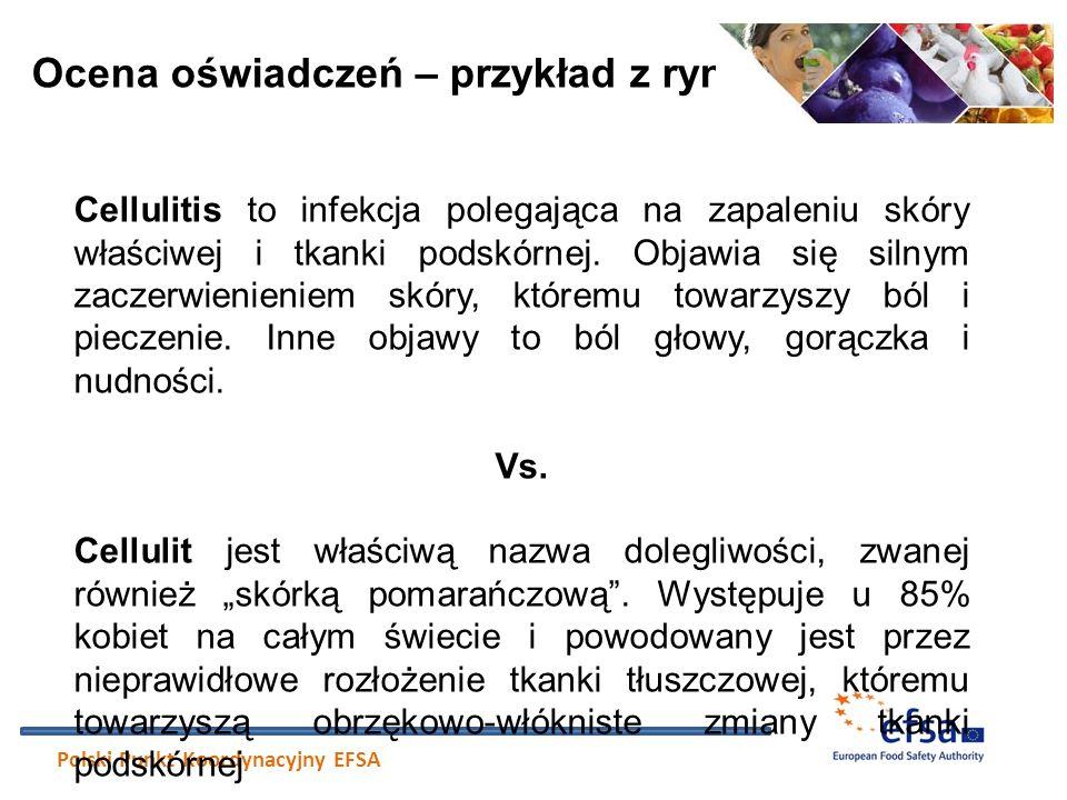 Ocena oświadczeń – przykład z rynku Polski Punkt Koordynacyjny EFSA Cellulitis to infekcja polegająca na zapaleniu skóry właściwej i tkanki podskórnej