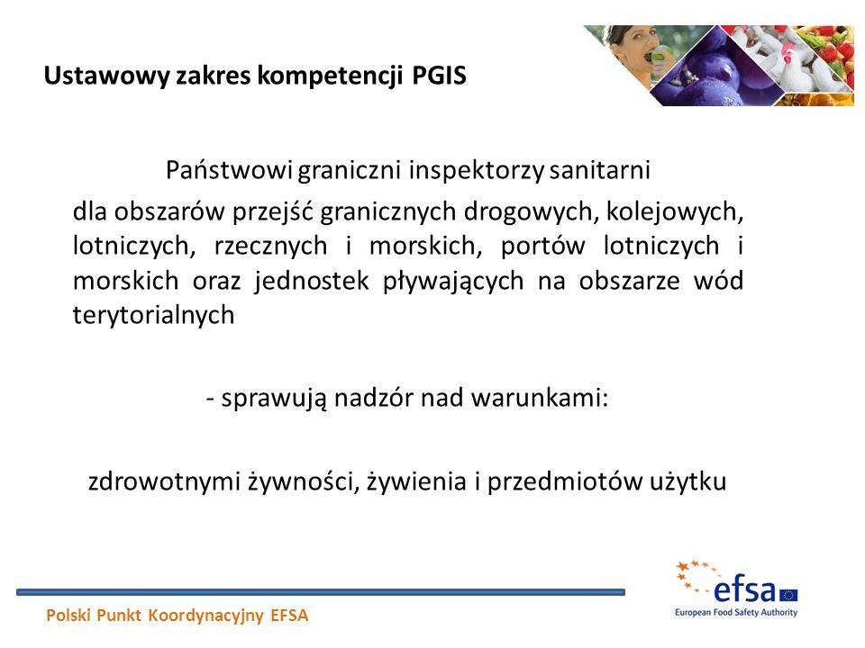 Ustawowy zakres kompetencji PGIS Państwowi graniczni inspektorzy sanitarni dla obszarów przejść granicznych drogowych, kolejowych, lotniczych, rzeczny