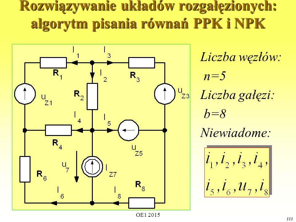 OE1 2015 111 Rozwiązywanie układów rozgałęzionych: algorytm pisania równań PPK i NPK Liczba węzłów: n=5 Liczba gałęzi: b=8 Niewiadome: