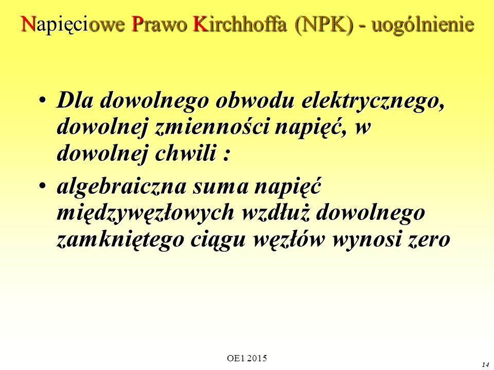OE1 2015 14 Napięciowe Prawo Kirchhoffa (NPK) - uogólnienie Dla dowolnego obwodu elektrycznego, dowolnej zmienności napięć, w dowolnej chwili :Dla dow