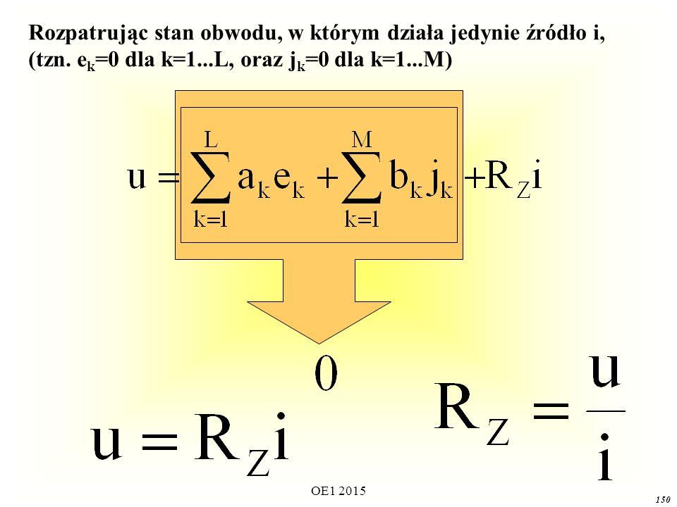 OE1 2015 150 Rozpatrując stan obwodu, w którym działa jedynie źródło i, (tzn. e k =0 dla k=1...L, oraz j k =0 dla k=1...M)