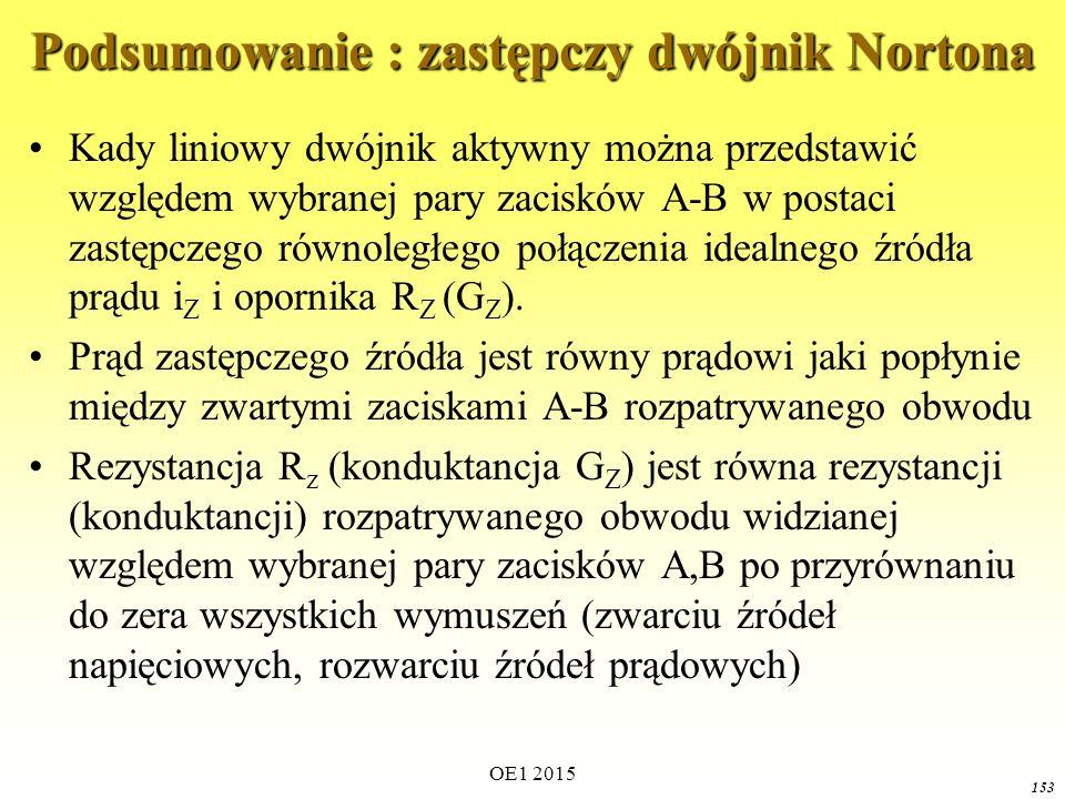 OE1 2015 153 Podsumowanie : zastępczy dwójnik Nortona Kady liniowy dwójnik aktywny można przedstawić względem wybranej pary zacisków A-B w postaci zas
