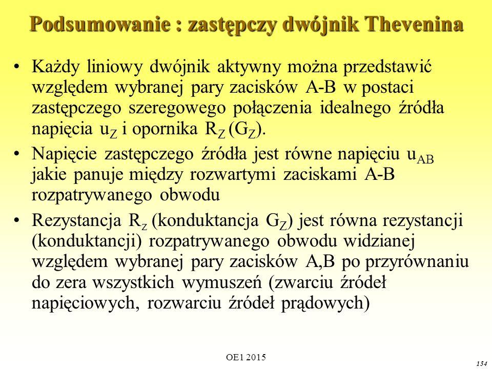 OE1 2015 154 Podsumowanie : zastępczy dwójnik Thevenina Każdy liniowy dwójnik aktywny można przedstawić względem wybranej pary zacisków A-B w postaci
