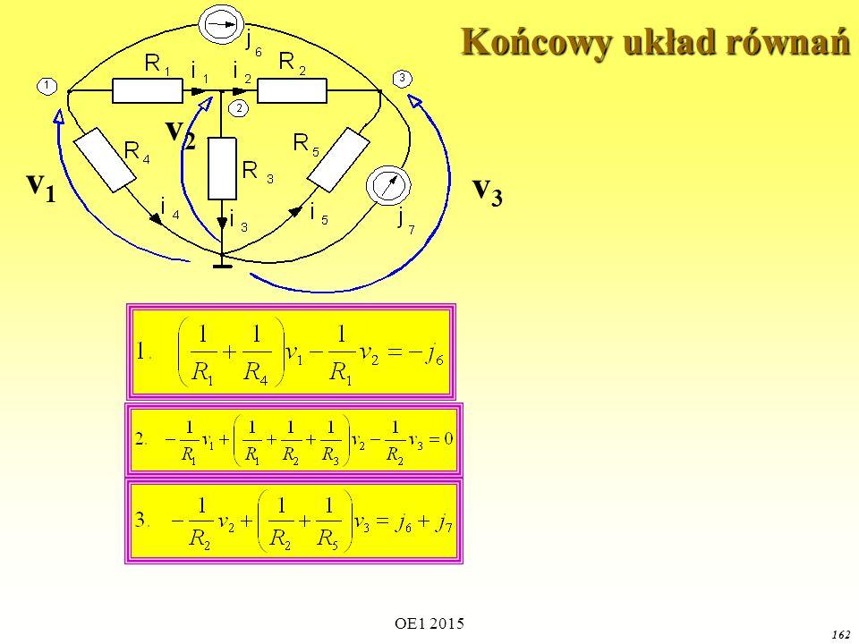 OE1 2015 162 Końcowy układ równań v1v1 v3v3 v2v2