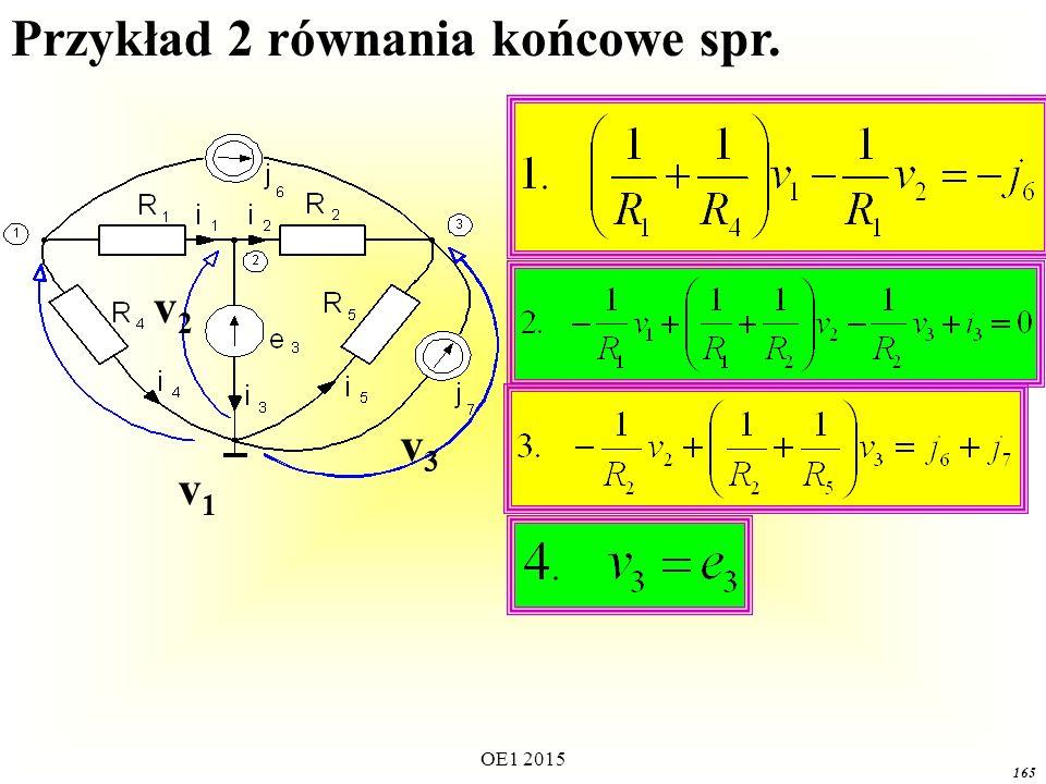 OE1 2015 165 v1v1 v3v3 v2v2 Przykład 2 równania końcowe spr.