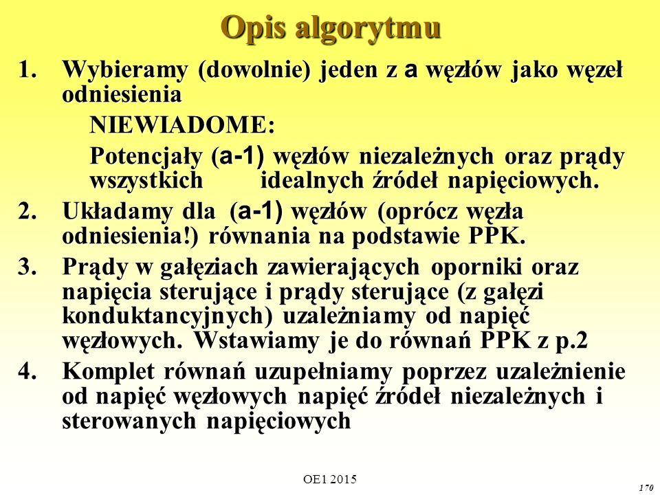 OE1 2015 170 Opis algorytmu 1.Wybieramy (dowolnie) jeden z a węzłów jako węzeł odniesienia NIEWIADOME: Potencjały ( a-1) węzłów niezależnych oraz prąd