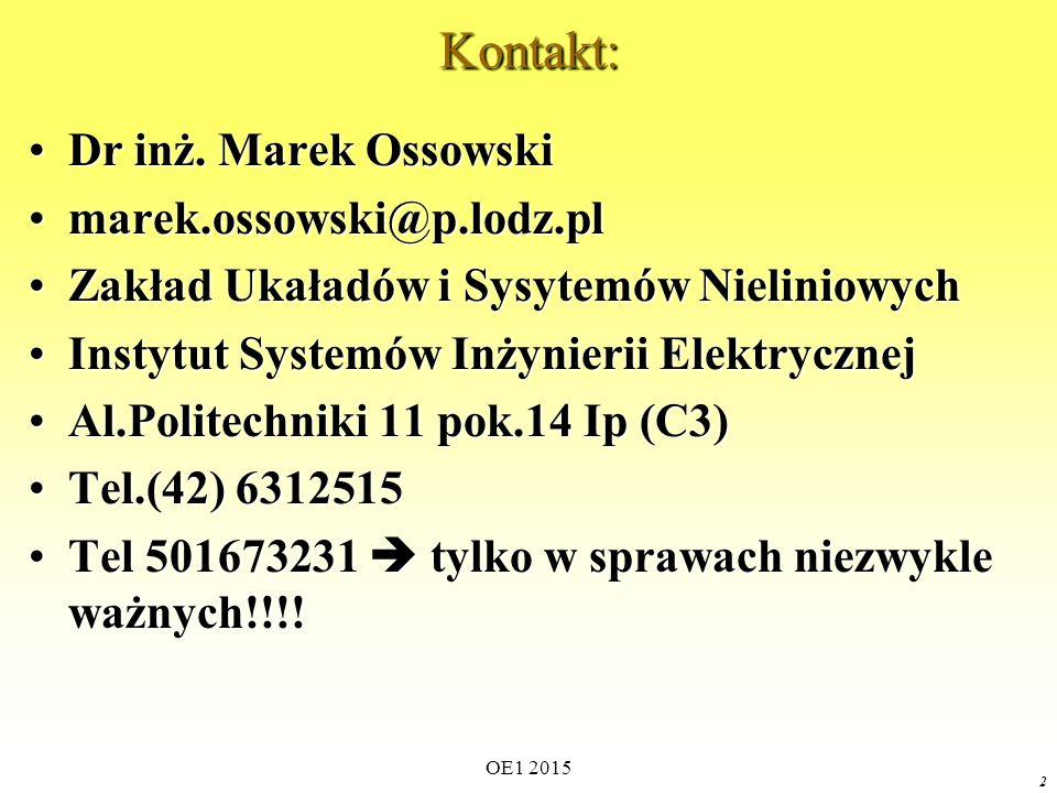 OE1 2015 2Kontakt: Dr inż. Marek OssowskiDr inż. Marek Ossowski marek.ossowski@p.lodz.plmarek.ossowski@p.lodz.pl Zakład Ukaładów i Sysytemów Nieliniow