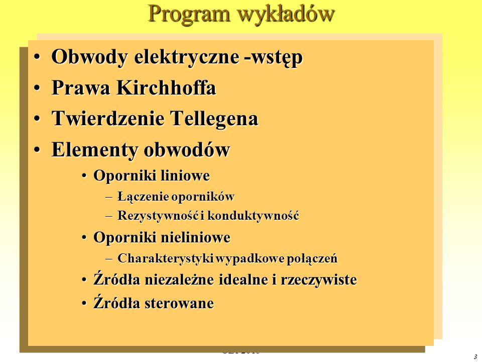 OE1 2015 3 Program wykładów Obwody elektryczne -wstępObwody elektryczne -wstęp Prawa KirchhoffaPrawa Kirchhoffa Twierdzenie TellegenaTwierdzenie Telle