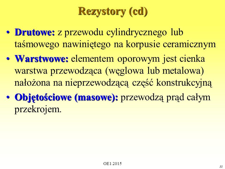 OE1 2015 31 Rezystory (cd) Drutowe:Drutowe: z przewodu cylindrycznego lub taśmowego nawiniętego na korpusie ceramicznym Warstwowe:Warstwowe: elementem