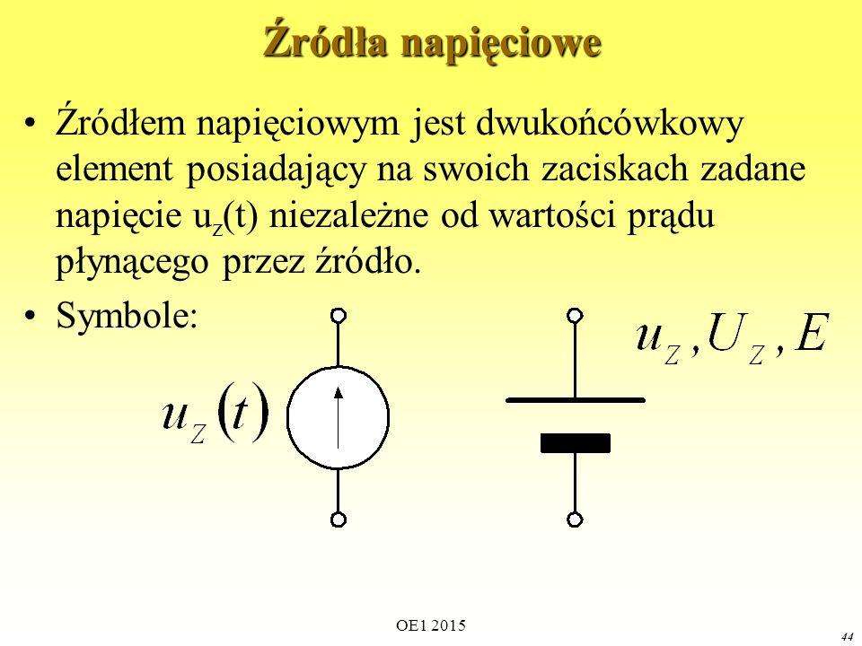 44 Źródła napięciowe Źródłem napięciowym jest dwukońcówkowy element posiadający na swoich zaciskach zadane napięcie u z (t) niezależne od wartości prą