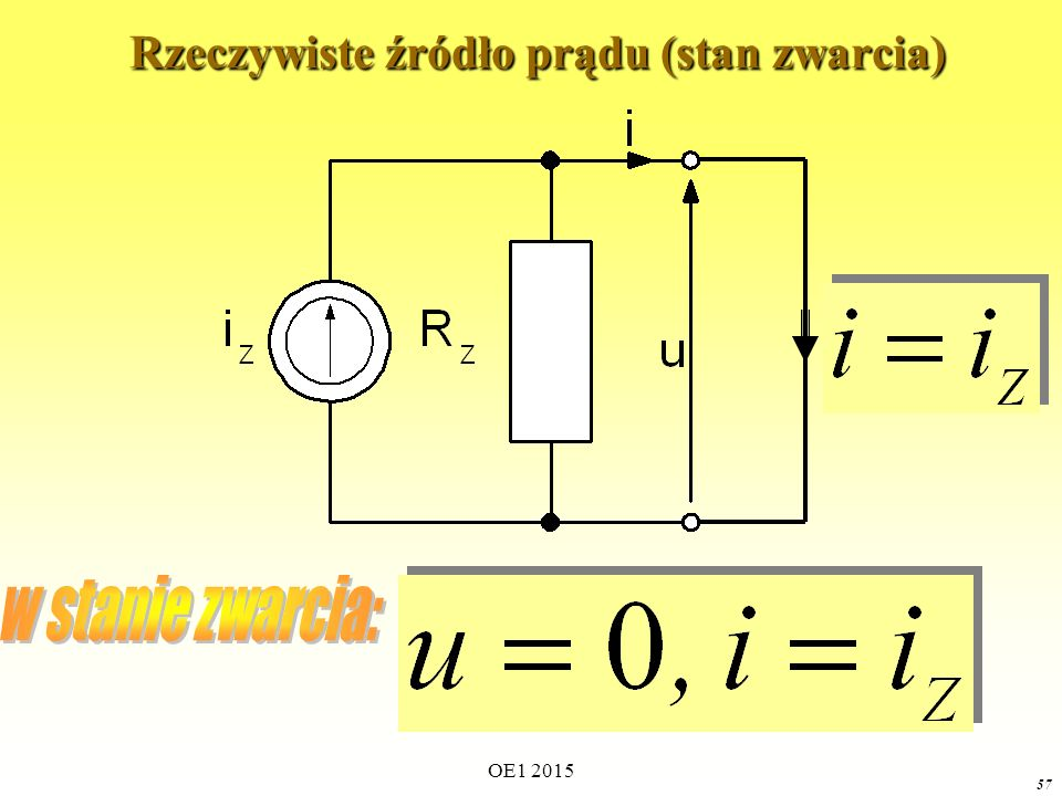 OE1 2015 57 Rzeczywiste źródło prądu (stan zwarcia) Rzeczywiste źródło prądu (stan zwarcia)