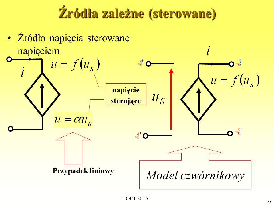 OE1 2015 61 Źródła zależne (sterowane) Źródło napięcia sterowane napięciem napięcie sterujące Model czwórnikowy Przypadek liniowy