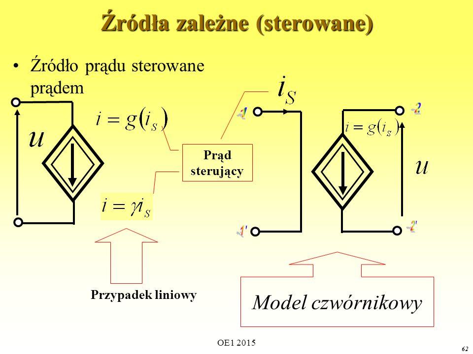 OE1 2015 62 Źródła zależne (sterowane) Źródło prądu sterowane prądem Prąd sterujący Model czwórnikowy Przypadek liniowy