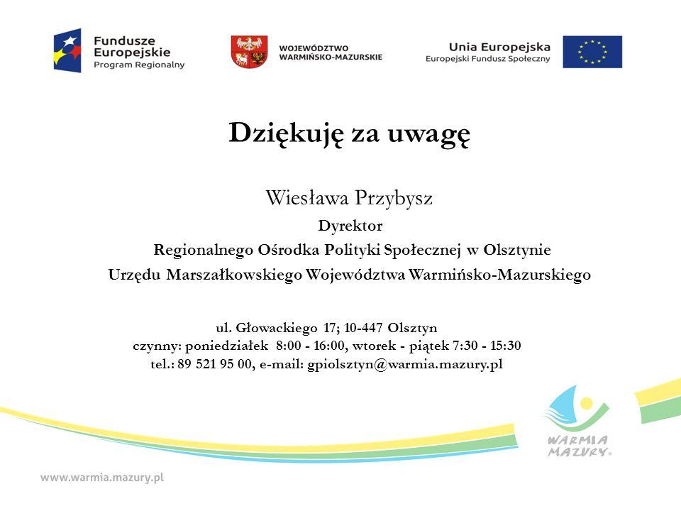 Dziękuję za uwagę Wiesława Przybysz Dyrektor Regionalnego Ośrodka Polityki Społecznej w Olsztynie Urzędu Marszałkowskiego Województwa Warmińsko-Mazurskiego ul.