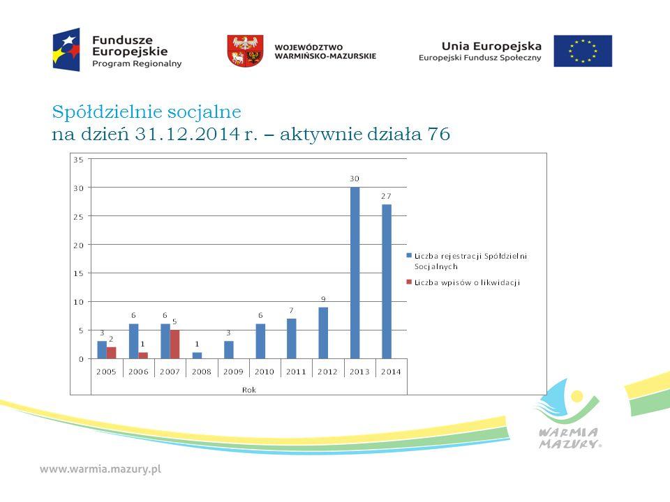 Założenia systemu wsparcia ekonomii społecznej na lata 2015 - 2020  funkcjonowanie 4 Ośrodków Wsparcia Ekonomii Społecznej świadczących usługi animacyjne, inkubacyjne oraz wsparcie biznesowe;  kontynuacja systemu wsparcia finansowego dla przedsiębiorstw społecznych: dotacje i wsparcie pomostowe itp.;  Utworzenie co najmniej 400 miejsc pracy w przedsiębiorstwach społecznych.